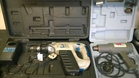 spares repair tough 21.6v xpro cordless hammer drill battery charger earlex 1600w heat gun in case