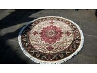 Kashmir, Hand-Knotted, Chobi-Zeiglar circular rug, unused and immaculate. Silk/Wool.