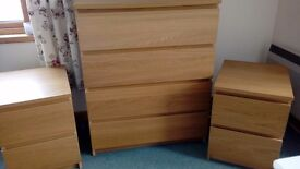 Oak effect chest of drawers and 2 x bedside cabinets