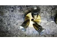2x Modern Brass Adjustable 3 Way Ceiling Spotlight (bulbs included) - 2 For Sale £25 (including p&p)