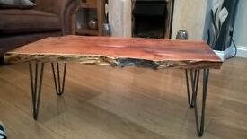 Solid Yew wood coffee table with hair pin legs. Pick up only,Cash payment on pick-up