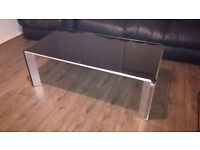 Large Black Tempered Glass Chrome Legged Coffee Table