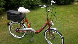 vintage folding bike,with carrier,new tyres,folds in seconds,runs perfectly