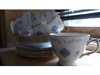 Vintage Royal Osborne Bone China Part Tea Set. Blue & White Trio pattern No 8324. Clean and perfect.