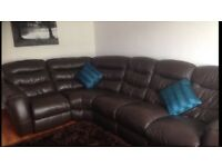 Leather Brown Corner Reclining Suite plus Armchair