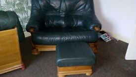 Pine framed green leather 3 piece suite with foot stool