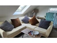 *2 year old* - Cream Leather L-Shaped Sofa - DFS