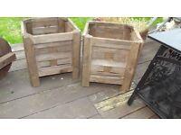 wooden garden planters x2
