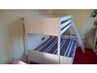 Antique White double on the bottom, single on top sturdy bunk bed