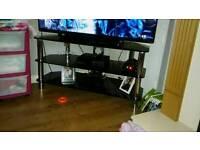 Black glass tv stand corner