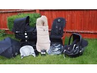 Bugaboo Cameleon 3 All Black full travel system +Maxi cosi Pebble+Easy Base