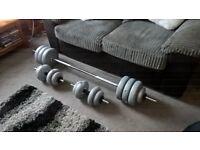 York 50kg Vinyl Barbell/Dumbell Weight Set