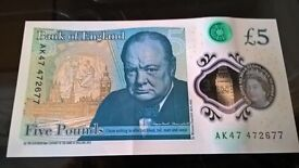 AK 47 47 Highly Coveted Extremely Rare Polymer £5 Note Unique Serial Number AK47 47 2677
