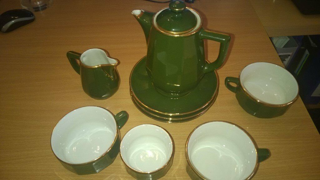 Apilco Green and Gold Coffee Set   in Undy, Monmouthshire   Gumtree