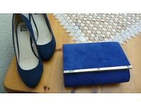 """Midnight Blue """"suede"""" low heel court shoes with coordinating clutch bag"""