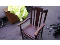 "Hall Chair 19th Century Oak Carved Leather Seat Large approx. 22"" Wide"
