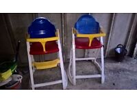 2 durable plastic no tray high chairs for sale £25 for both or £15 each