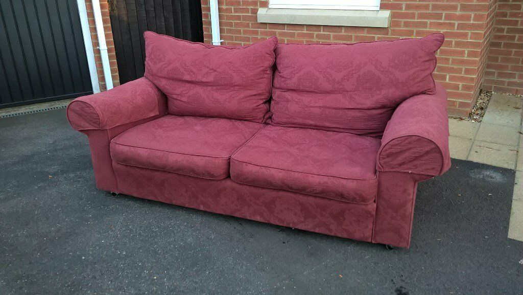 "Collins & Hayes 3 Seater Settee - In Burgendy Fabric, 6ft 6"" Long x 3ft Deep x 2ft 6"" High"