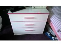 Girls Bedroom Furniture. Chest of Drawers, Bookshelf, Desk/Dressing Table. White and Pink