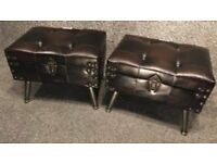Stunning Pair of Leather lift up lid stools on metal flute legs