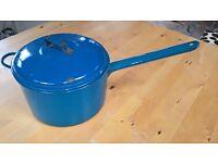 Blue enamel saucepan