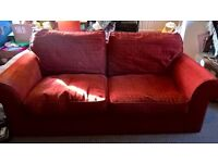 John Lewis Rust Red Comfy Sofa Large 2 Seater Sits 3 Bed Not Working V.Good Cond