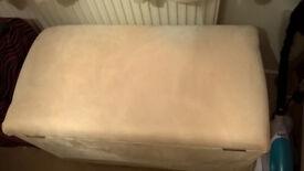 Cream faux suede ottoman