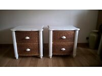 PAIR OF MATCHING SHABBY CHIC/ RATTAN SIDE TABLES/ DRAWERS
