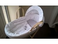 Mamia Moses Basket With Stand, As new
