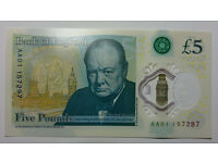 New polymer £5 note AA01 157297