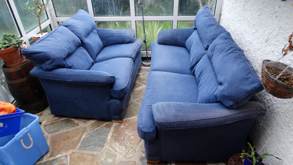 Sofa Blue Suede 3 Seater And 2 Seater Sofa For Sale