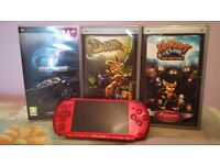 Sony Playstation Portable 3003 (PSP, Red) with Games