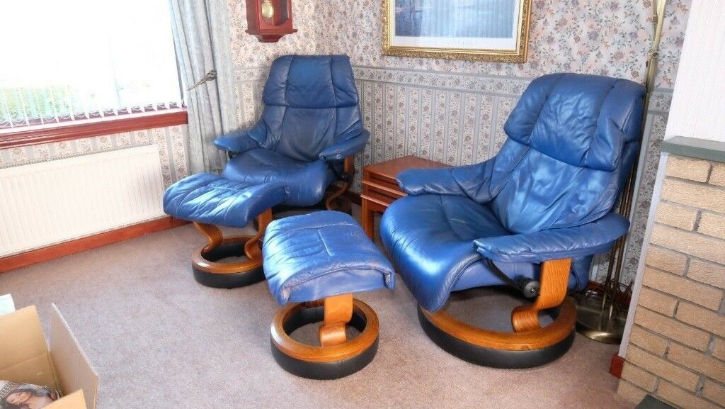 2 X Raised Height Stressless Leather Reclining Chairs With Foot Stools In Blue