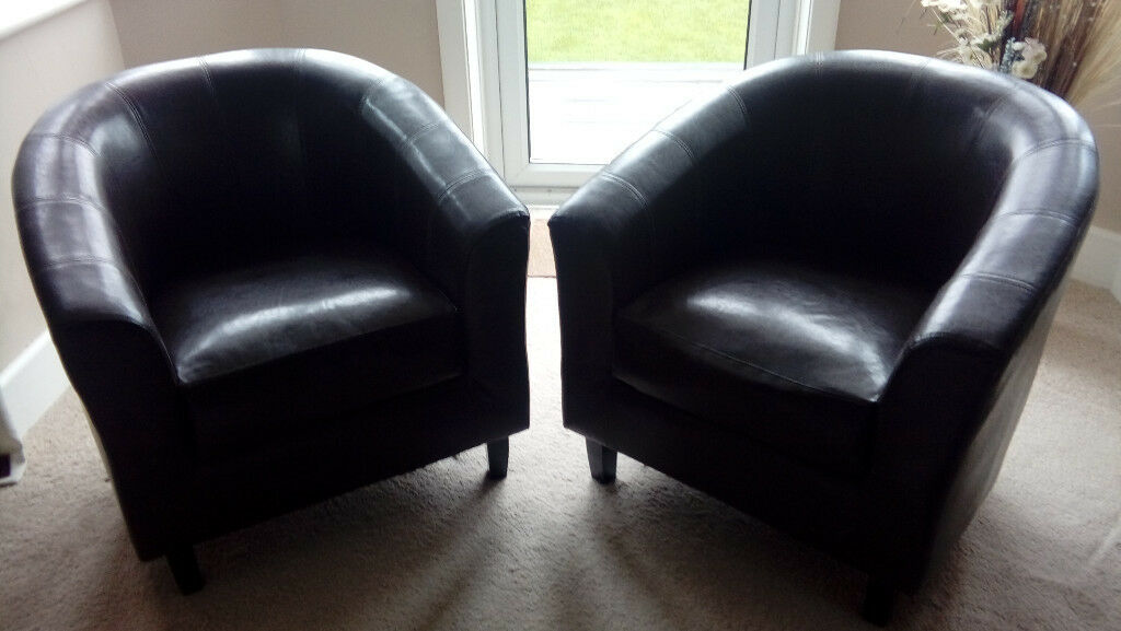 Two Faux Leather Tempo Tub Chairs - Dark Brown, Plus Free Pouffe - Good Condition