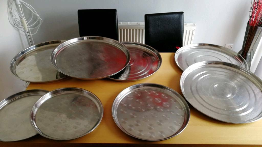 Serving Round Trays X 8 Stainless Steel In Moseley West Midlands