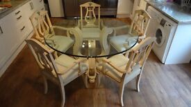Dining Table - Italian Design - 5 Chairs - Glass Top - Light Wood with Cream Silk Seats