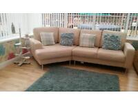 Cream leather corner sofa immaculate as new can deliver