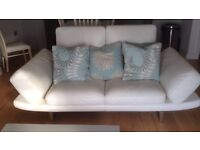 Beautiful hand stitched Italian white leather sofa adjustable arms and headrests