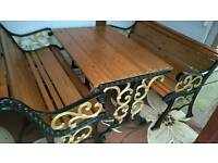 Vintage cast iron garden furniture set