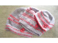 Hand crocheted Ladies/Girls hats. Set of 3 sizes.
