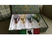 Boxed set coloured wine glasses New