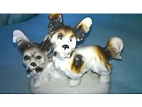 Vintage China Dogs Ornament Two Papillon Type Dogs Very Good Condition