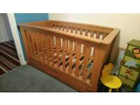 Mamas and papa's cot bed and drawers/ changing table