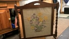 Oak ornate fire screen/guard