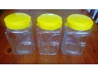 SET OF 3 KITCHEN STORAGE JARS , SUGAR COFFEE TEA FLOUR RICE