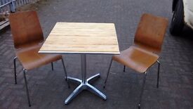 bistro table and two chairs