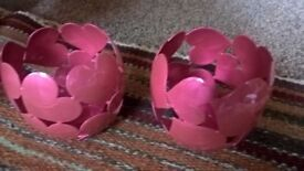 Pink love heart candle holders (pair)