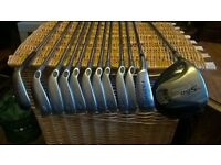 Left Hand Callaway X-12 Irons, with Taylor Made R5 driver and Progen Lob Wedge