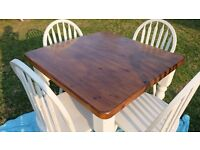 Farmhouse table and 4 wheel back dining chairs solid pine ,shabby chic rustic look summer dine