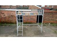 SILVER METAL HIGH SLEEPER WITH DOUBLE LADDER AND MATTRESS FREE LOCAL DELIVERY